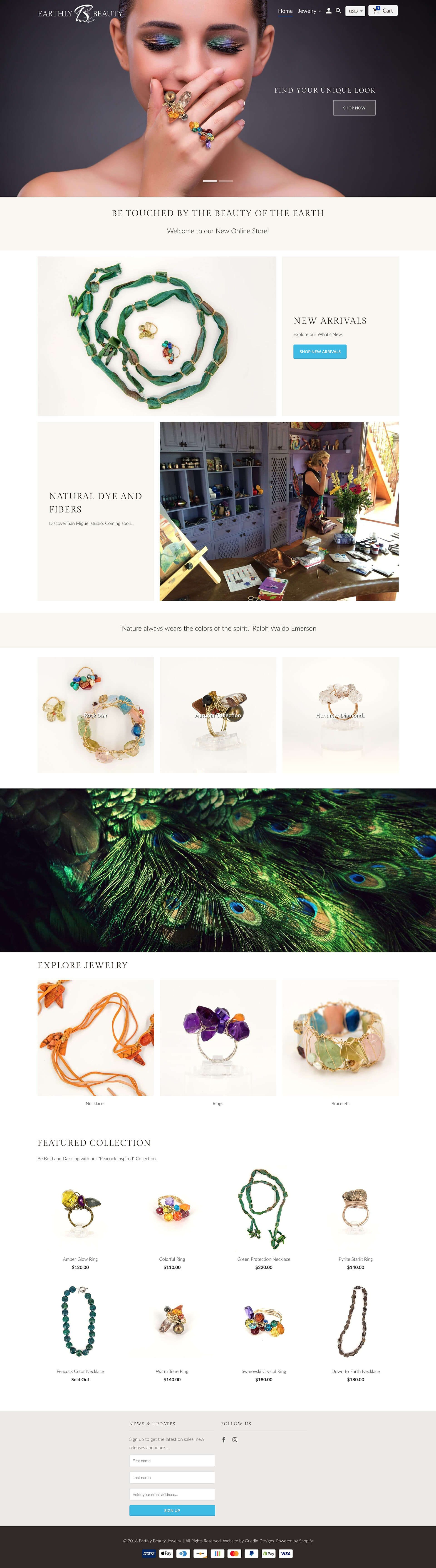 Earthly Beauty Jewelry ecommerce website by Guedin Designs
