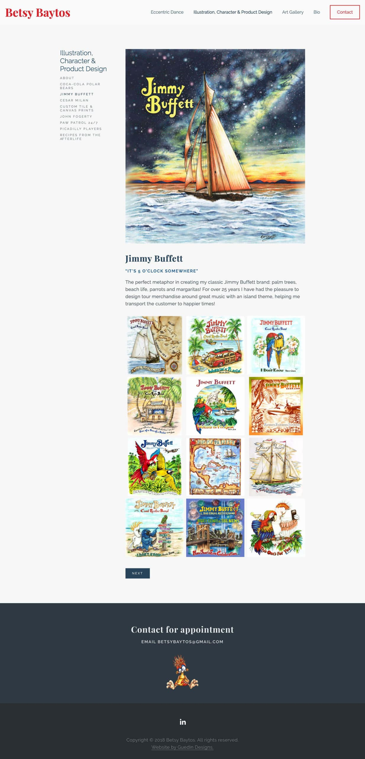 Betsy Baytos Jimmy Buffet illustration page
