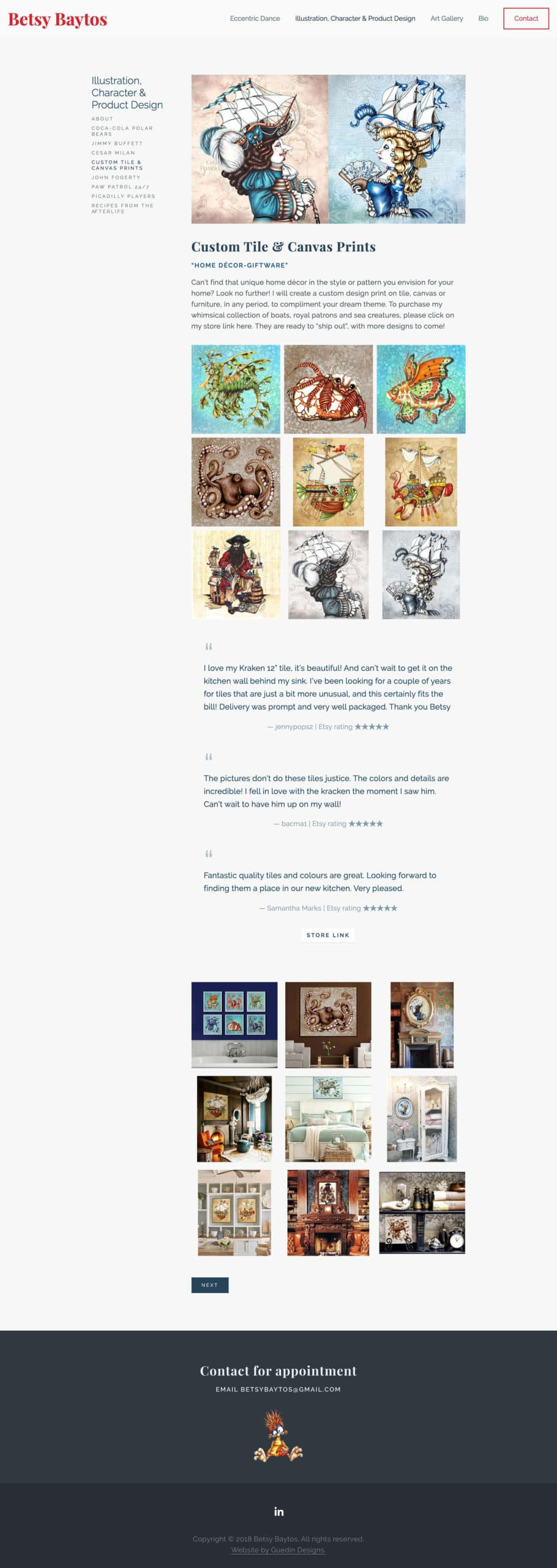Betsy Baytos Custom Tile and Canvas Prints page