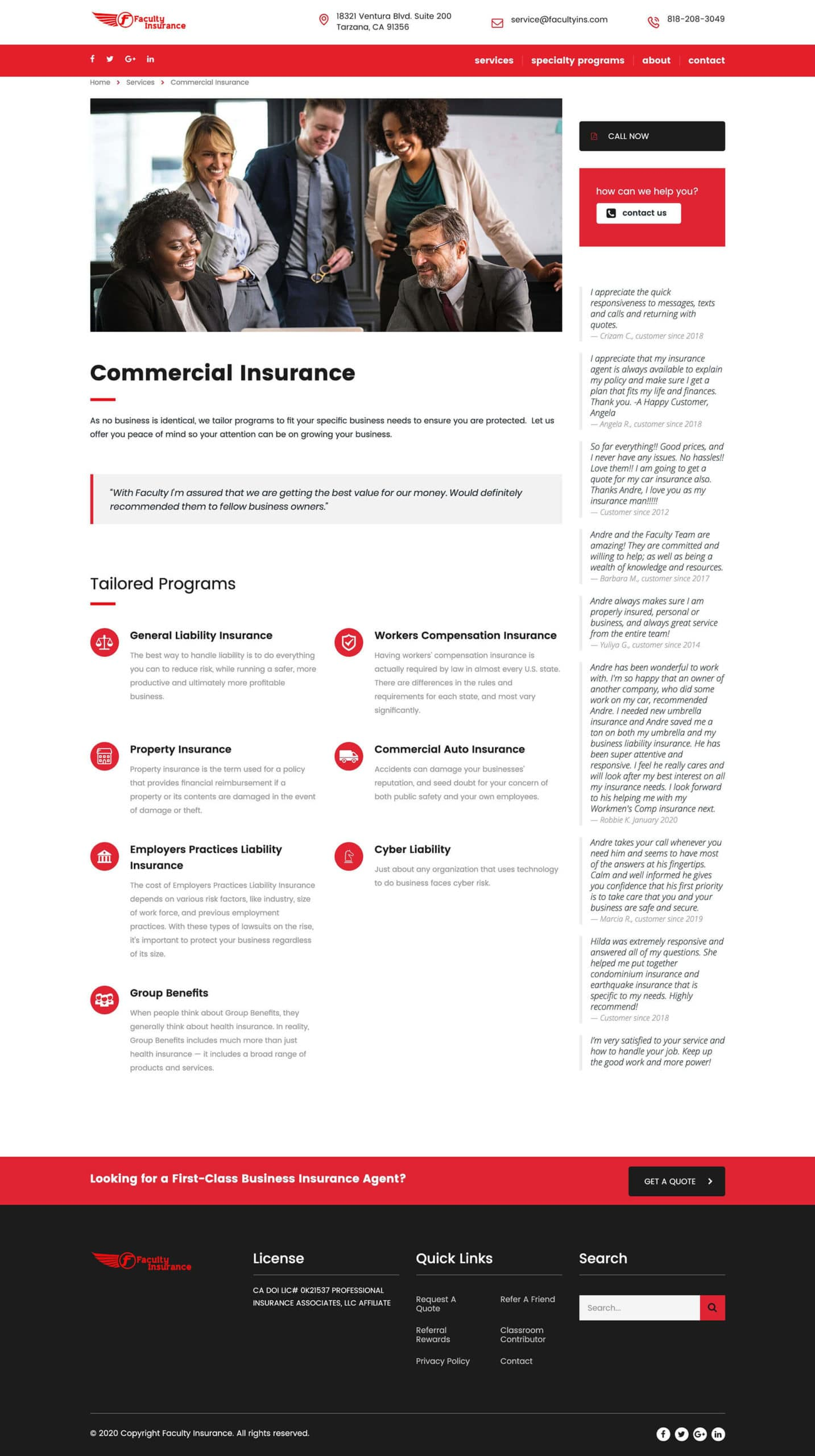 Faculty Insurance Commercial Insurance page