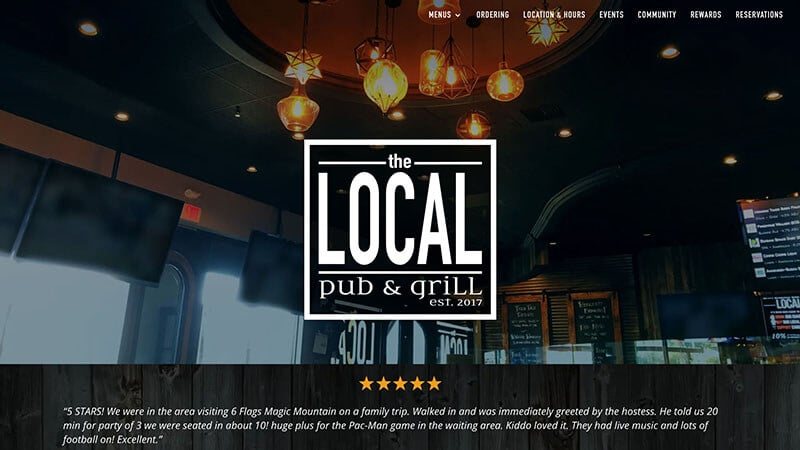The Local Pub & Grill homepage