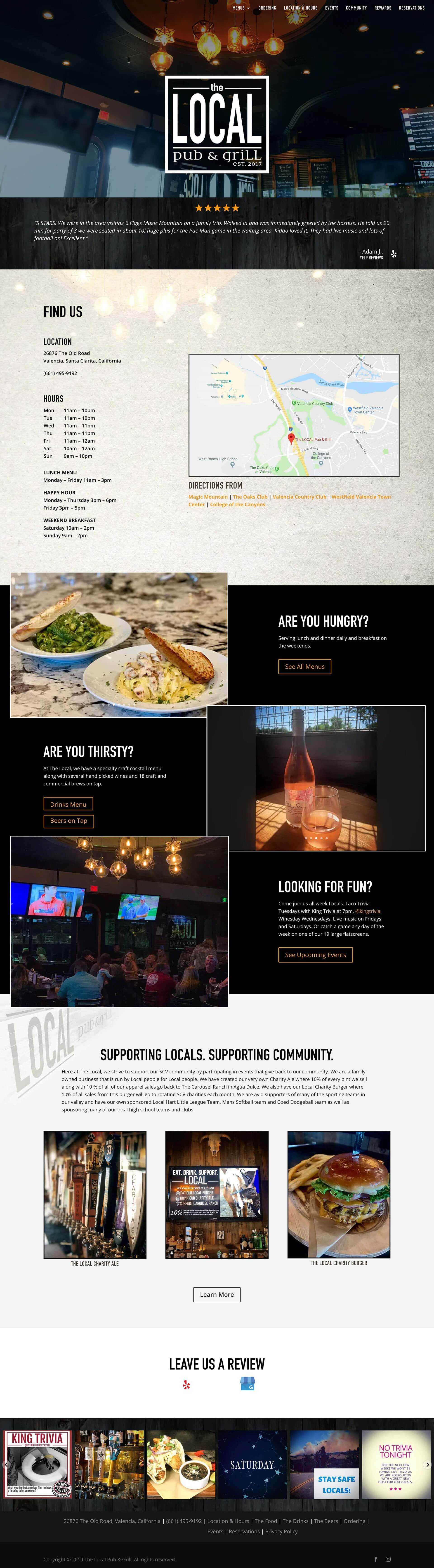 The Local Pub and Grill home page
