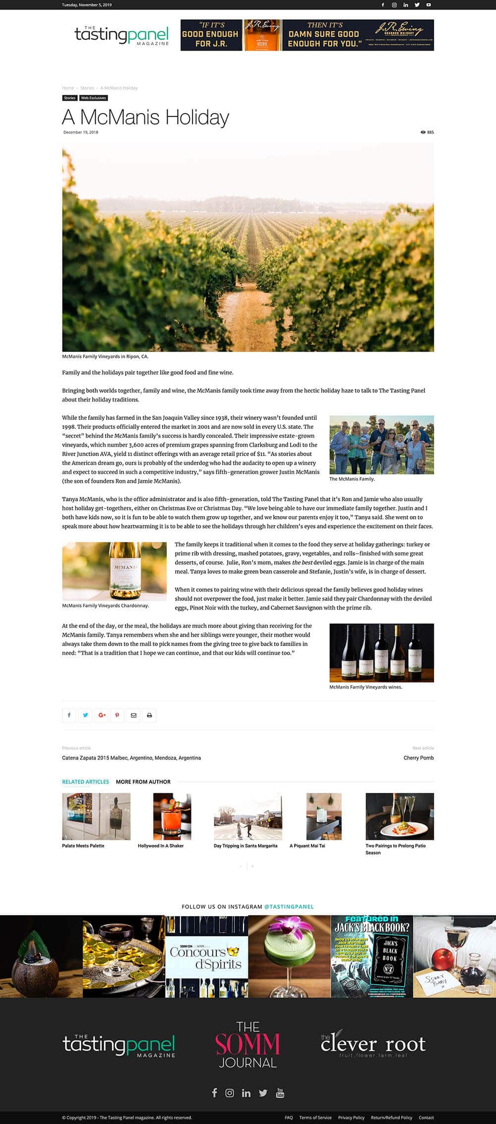 The Tasting Panel Magazine Website Article
