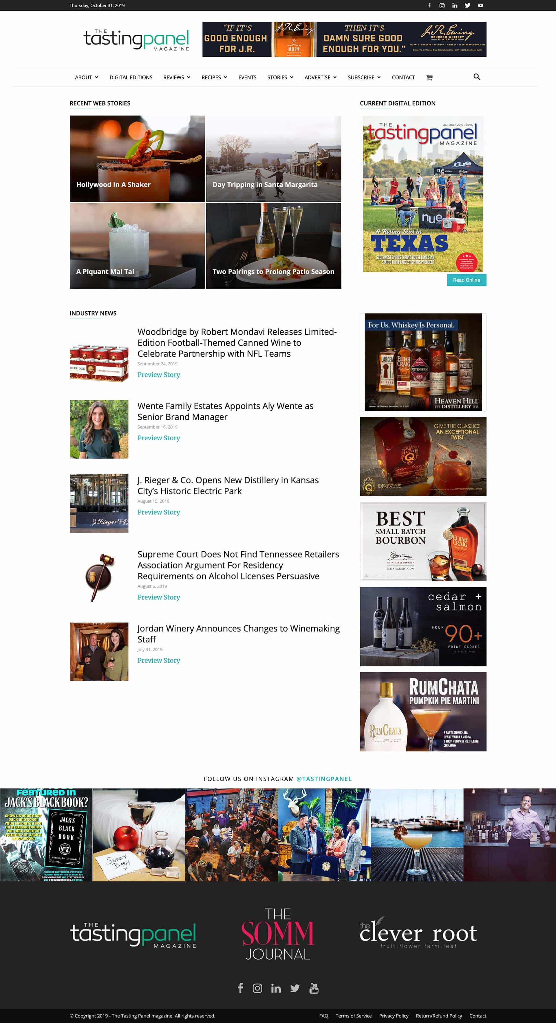The Tasting Panel Magazine Website Home Page