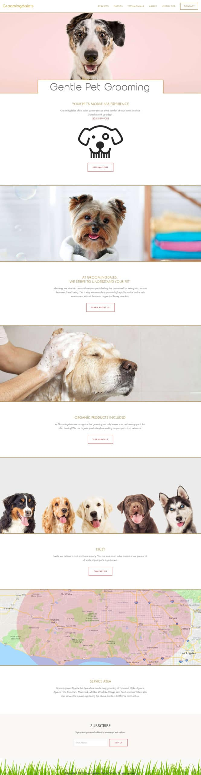Groomingdales Website Design Homepage