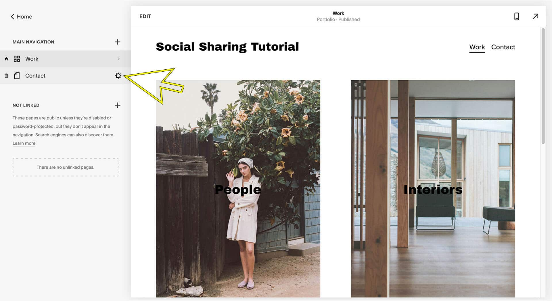 squarespace social sharing image tutorial page settings