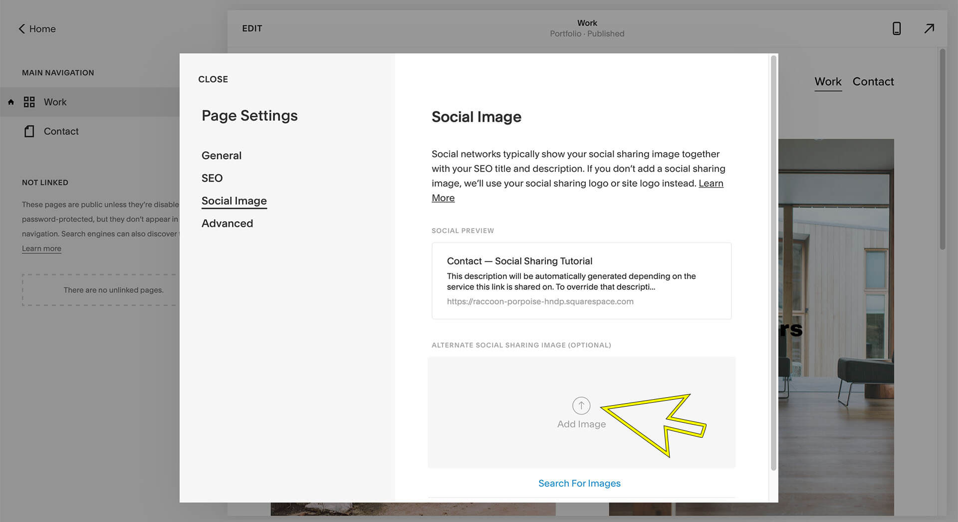 squarespace social sharing image tutorial add social image button