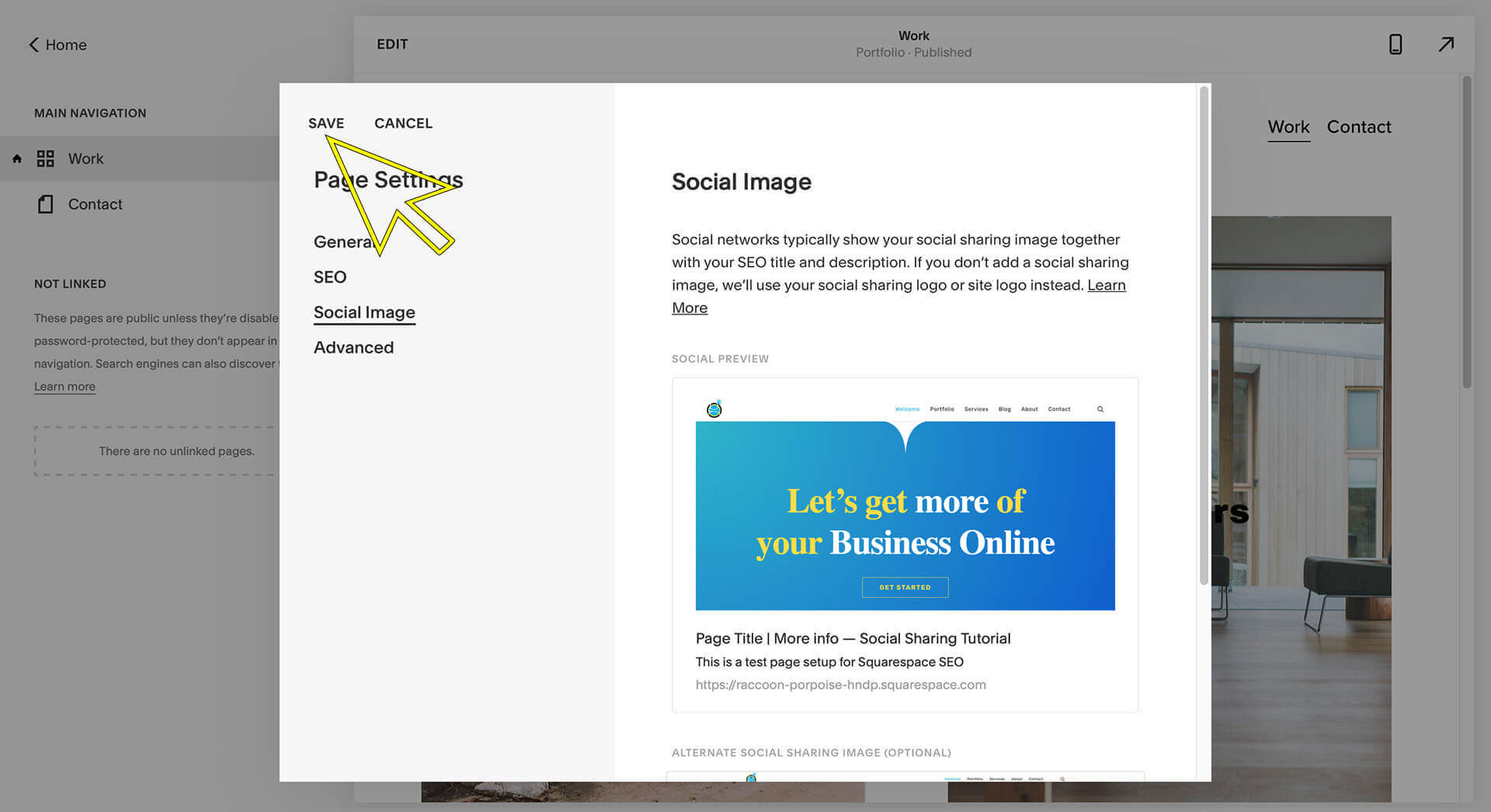 squarespace social sharing image tutorial save changes
