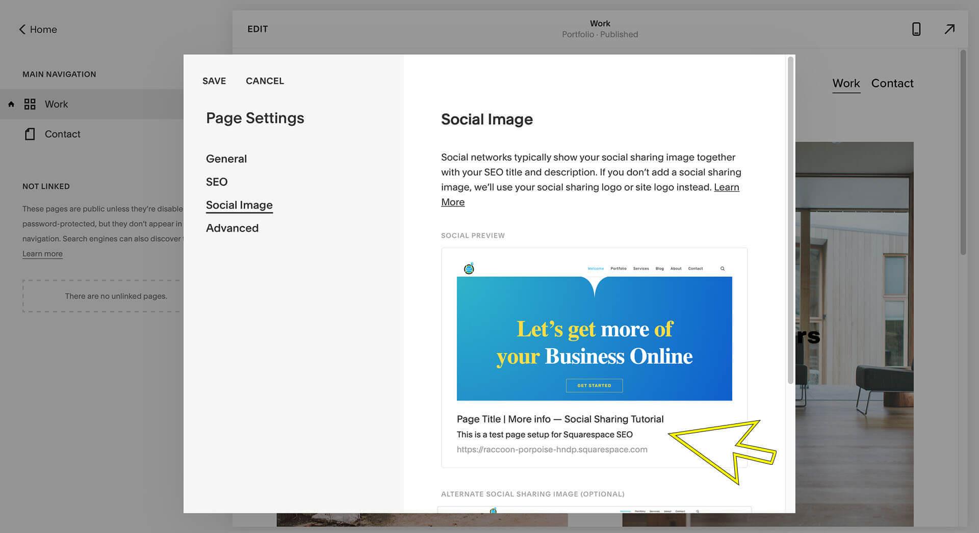 squarespace social sharing image tutorial image, social image