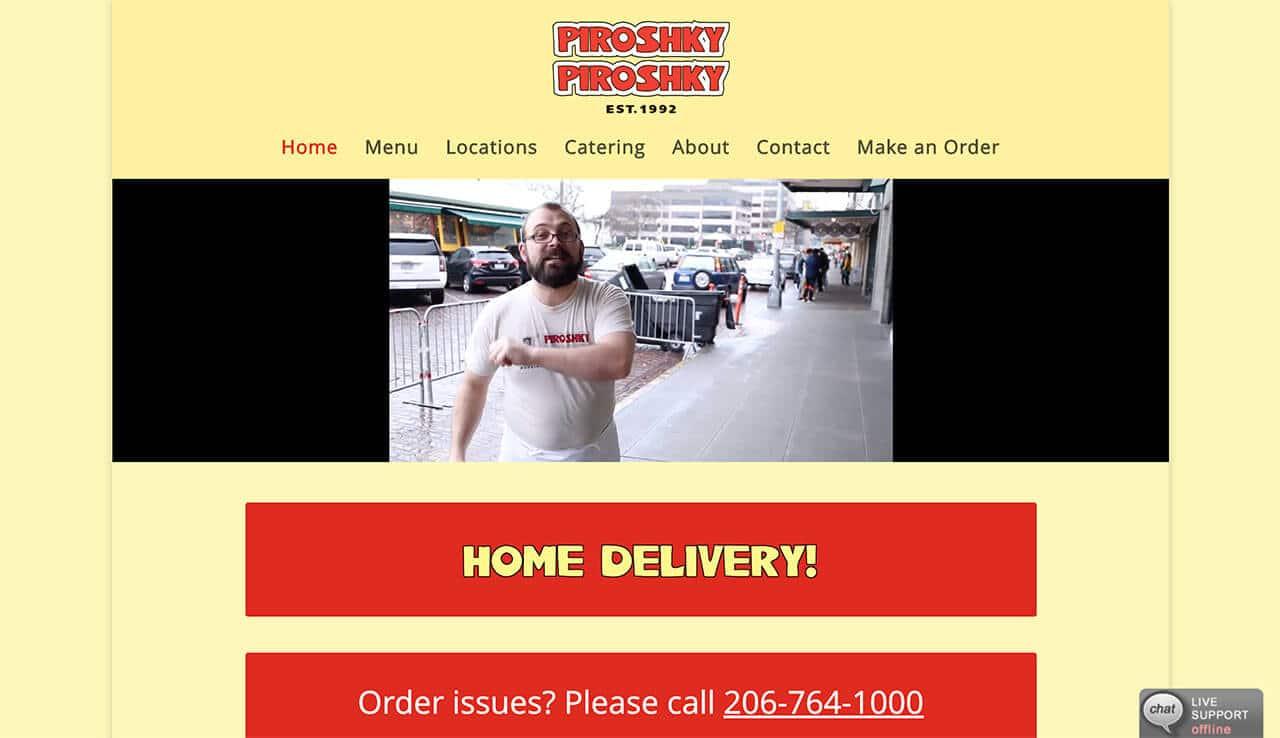 image of Piroshky Piroshky home page web design during coronavirus