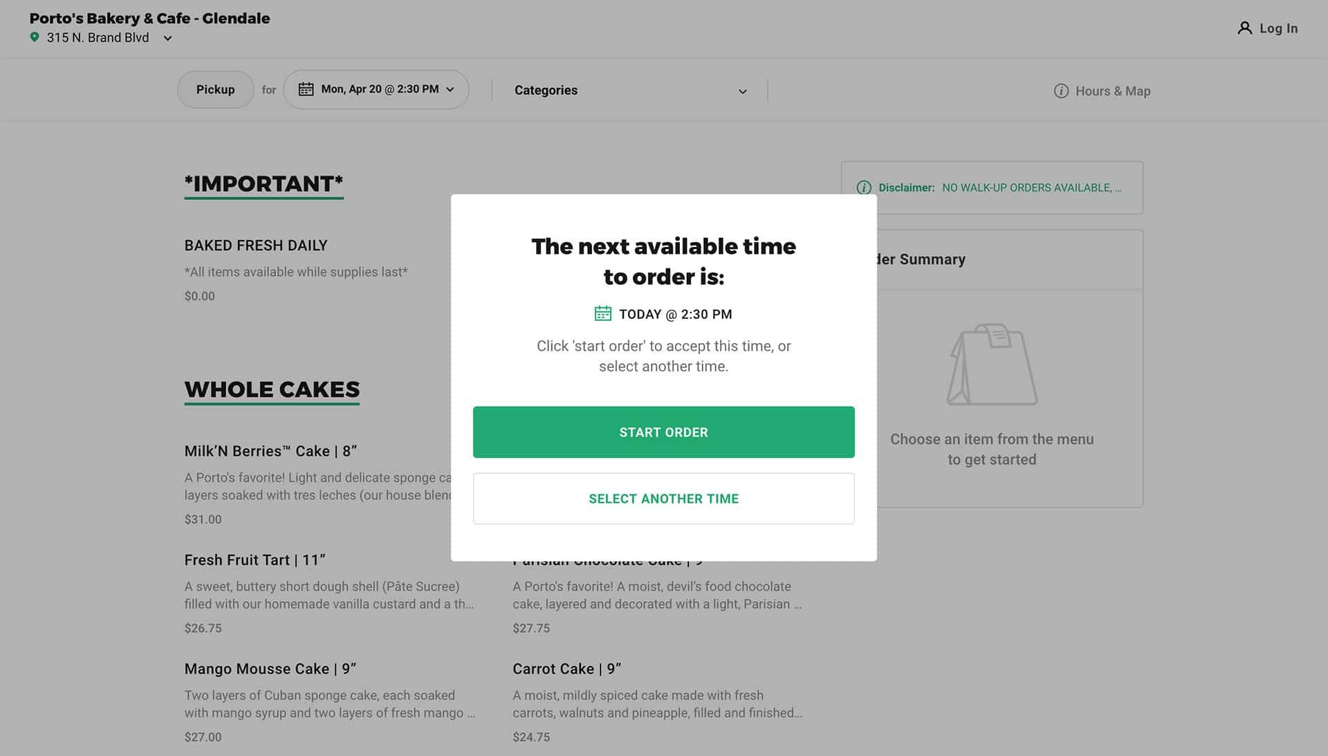 image of web design coronavirus example Porto's pickup page