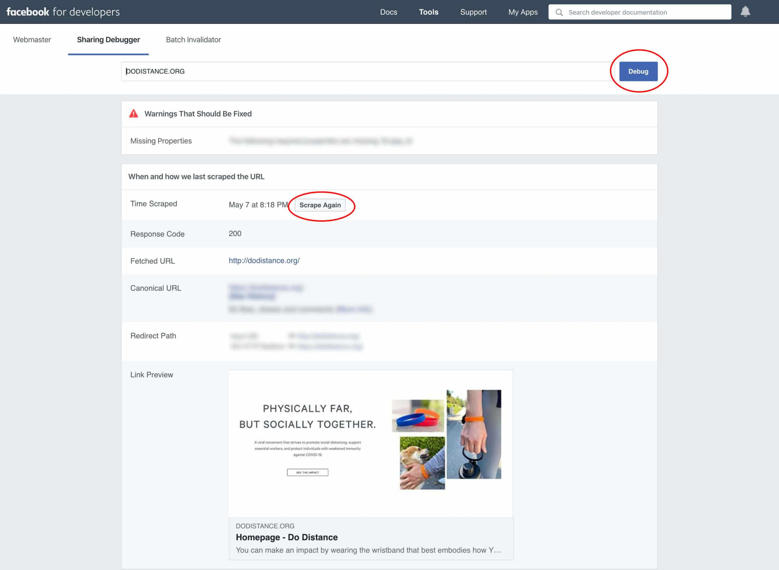 How to debug Facebook social image