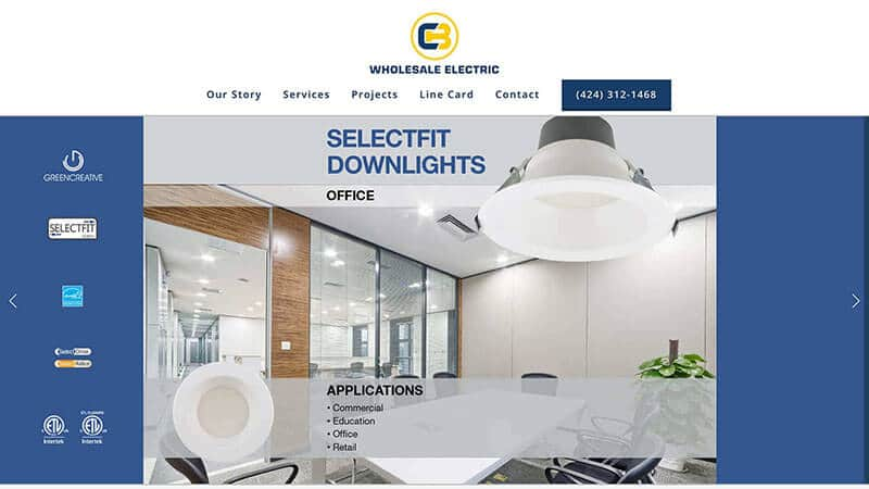 Snapshot CB wholesale electric home page. Web design by Guedin Designs