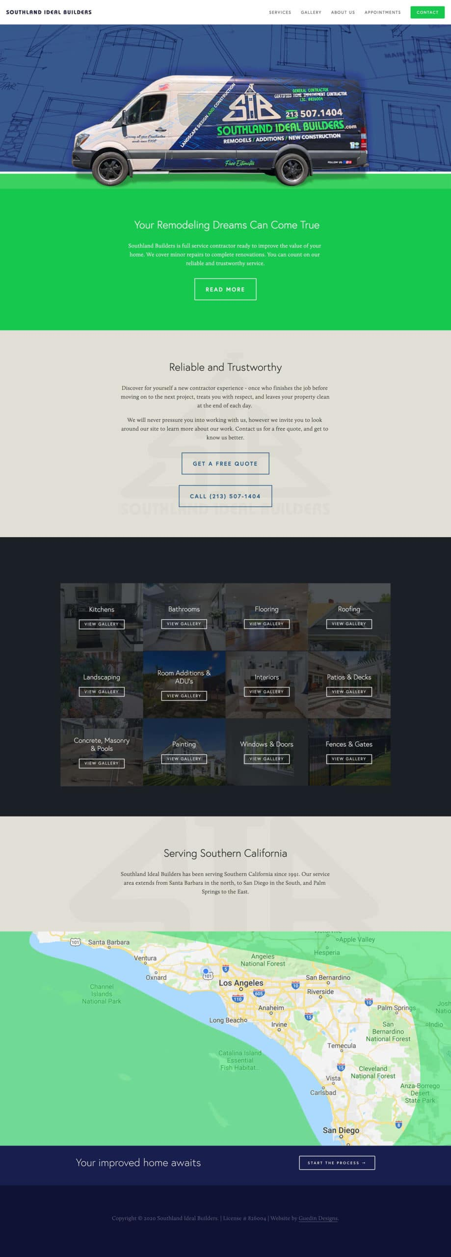 Snapshot of Southland Ideal Builders home page