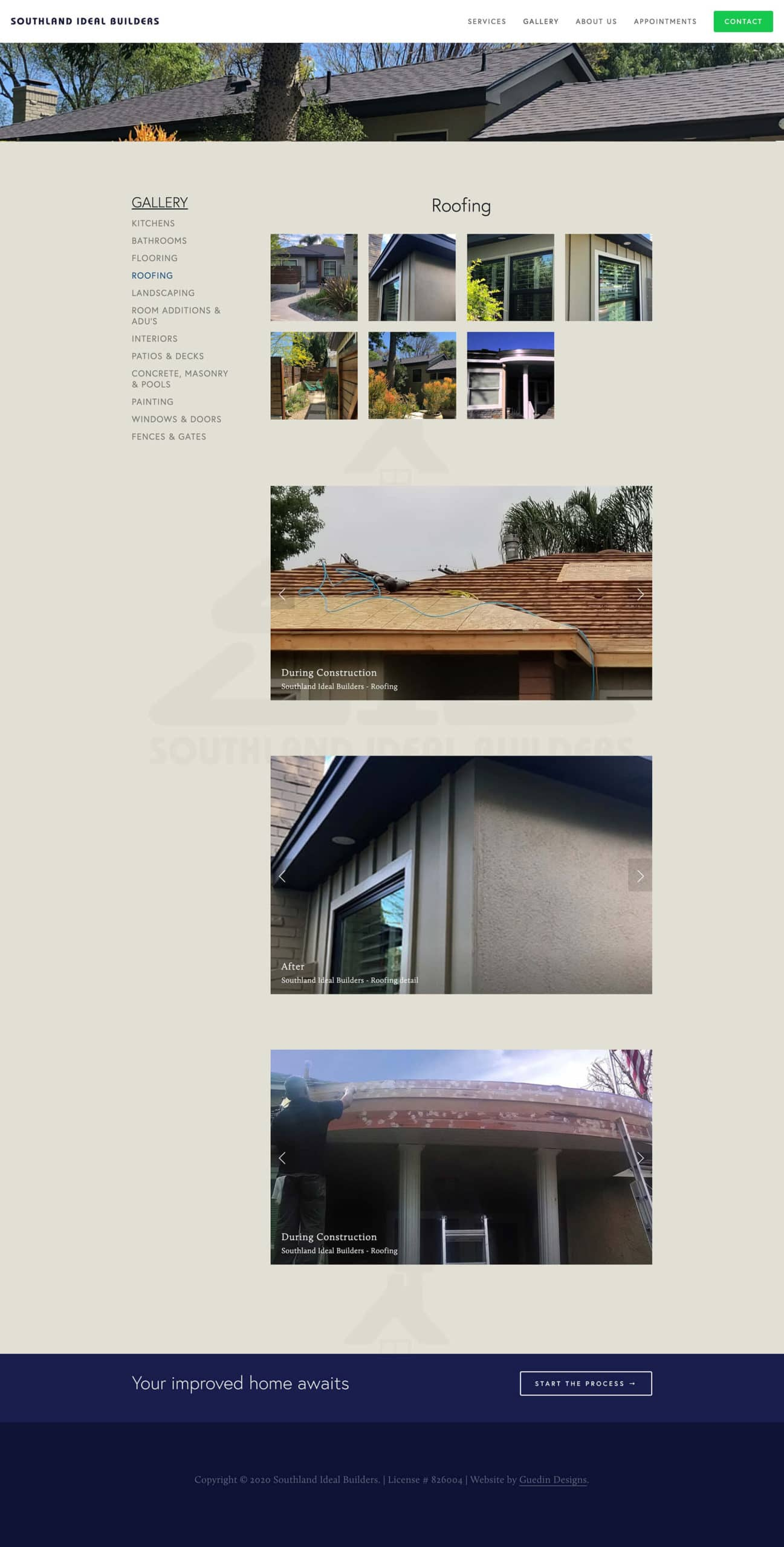 Snapshot of Southland Ideal Builders roofing gallery
