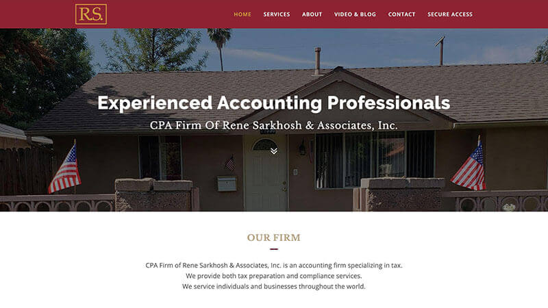 Snapshot of CPA firm home screen. Web design by Guedin Designs