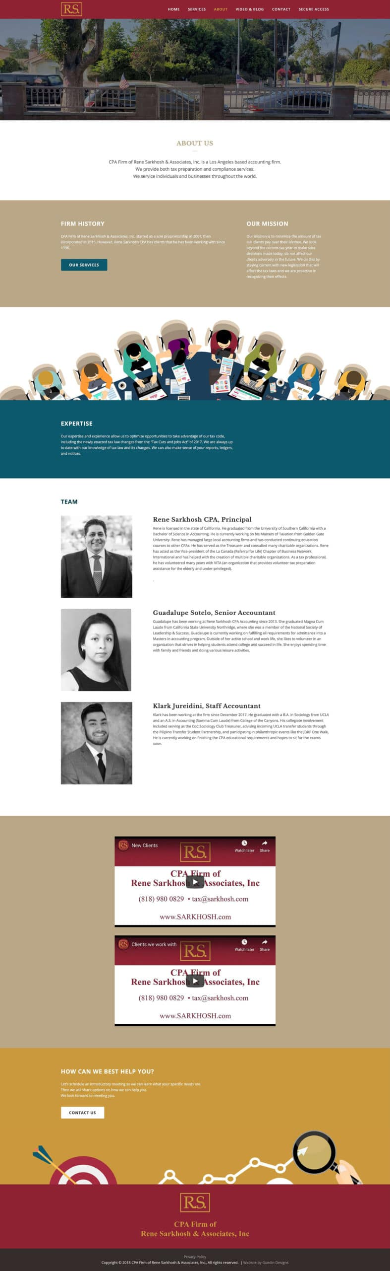 Snapshot of CPA about page. Web design by Guedin Designs