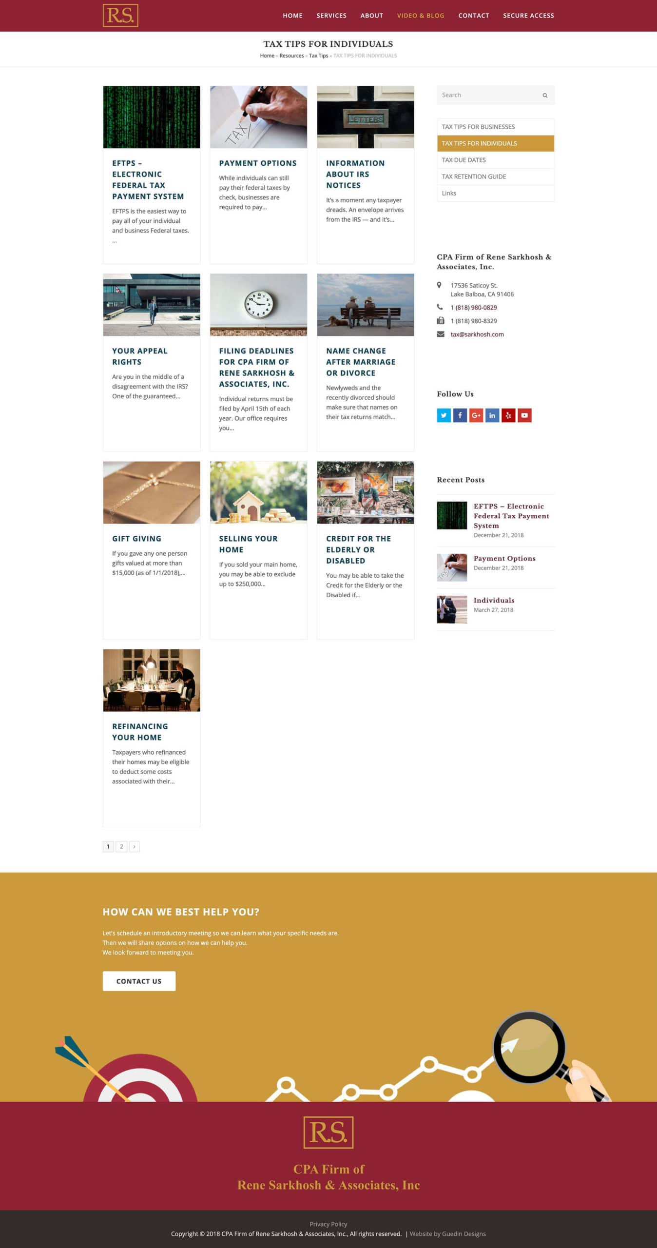 Snapshot of Tips blog page. Web design by Guedin Designs